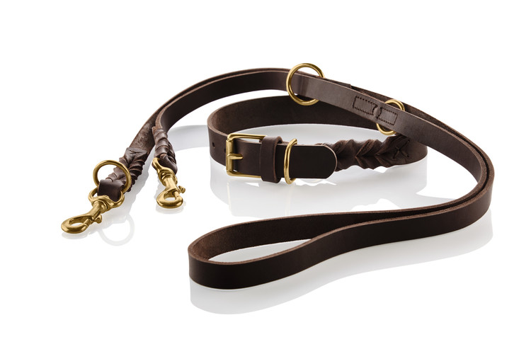 HUNTER Sansibar Solid Hundhalsband Mörkbrun/Messing