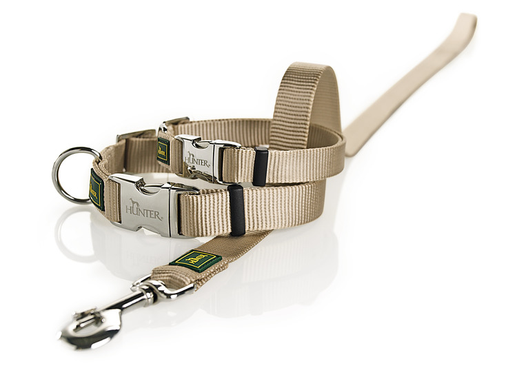 HUNTER Vario Alu-Strong Nylon Halsband Beige