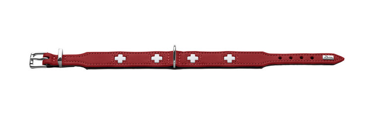 HUNTER Swiss Halsband Röd Ekologiskt Läder (Best. vara)