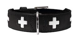 HUNTER Swiss Halsband Svart Ekologiskt Läder (Best. vara)