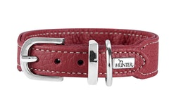 HUNTER Cannes Mini Hundhalsband Kalvläder Vinröd