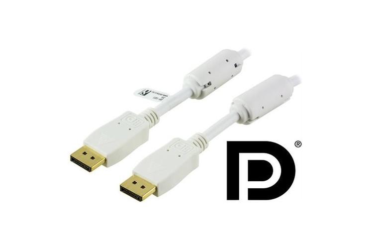 DELTACO DisplayPort monitorkabel, Ultra HD i 30Hz, 21,6 Gb/s 2m, vit, 20-pin ha - ha