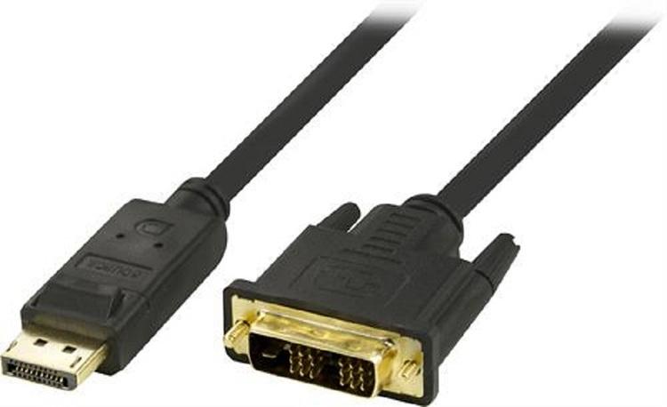 DELTACO DisplayPort till DVI-D Single Link monitorkabel, Full HD i 60Hz, 2m, svart, 20-pin ha - 18+1-pin ha,