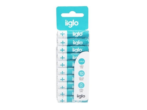 iiglo AAA Batteri 10 pk, alkaliska batterier