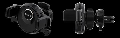 DELTACO bilhållare för ventilationsgaller, för smartphones 60-88mm i bredd, roterbar, svart