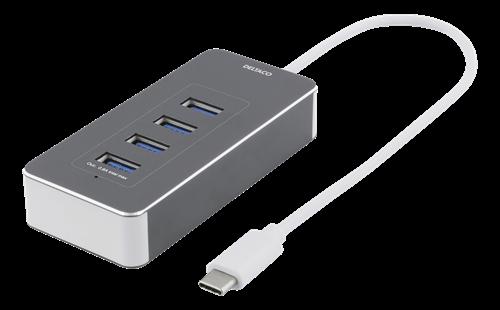 DELTACO USB-C hubb, 4x USB-A 3.1 Gen 1