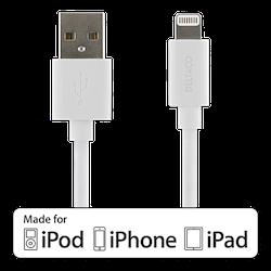 DELTACO USB-synk-/laddarkabel till iPad, iPhone och iPod, MFi, USB Typ A ha - Lightning ha, 1m, vit