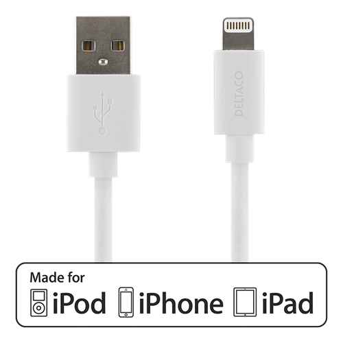 DELTACO USB-synk-/laddarkabel till iPad, iPhone och iPod, MFi, USB Typ A ha - Lightning ha, 1m, vit