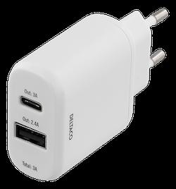 DELTACO Väggladdare 230V till 5V USB, 3A 15W, 1xUSB-C, 1xUSB-A