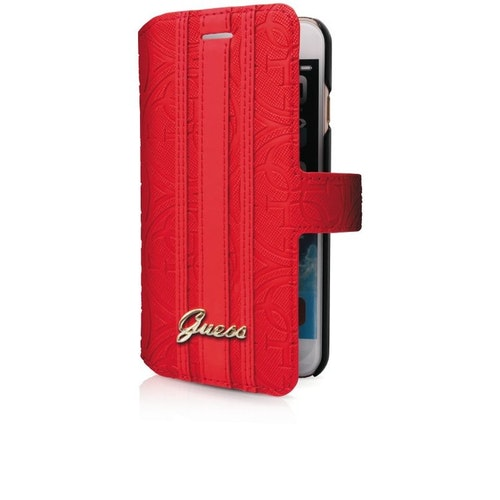 Guess iPhone 7 Heritage Booklet Case w/CardSlots Red