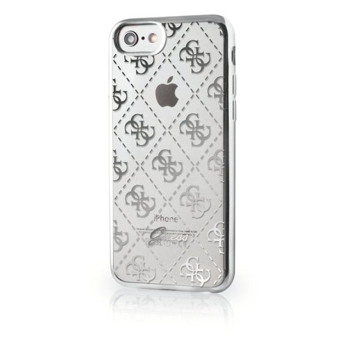 Guess iPhone 7, 4G Transparent TPU Cover, Silver