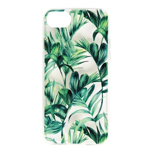 Essentials iPhone 8/7/6S, TPU Cover, genomskinligt palmgrönt