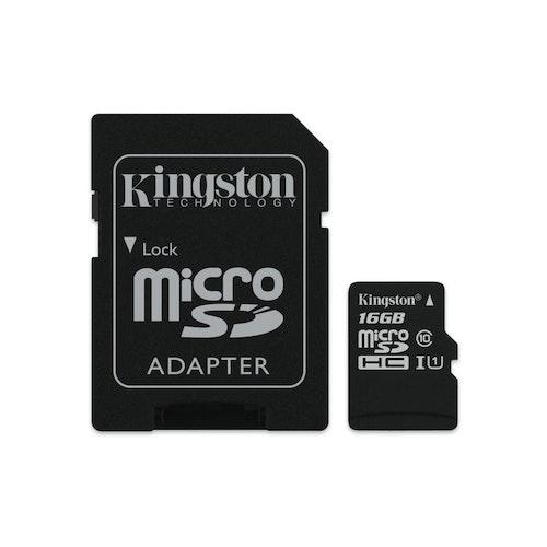 Kingston 16GB MicroSDXC Class 10 UHS-I Read kort+SD-adapter