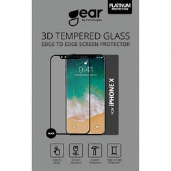 GEAR Härdat Glas 3D iPhoneX Edge to Edge Svart