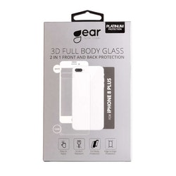 GEAR Härdat Glas 3D 2in1 Front & Back iPhone8 Plus Edge to Edge Vit med Klar baksida