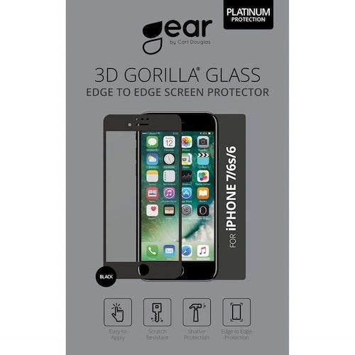"GEAR Härdat Glas 3D 4.7"" iPhone6/7/8 Edge to Edge Svart"
