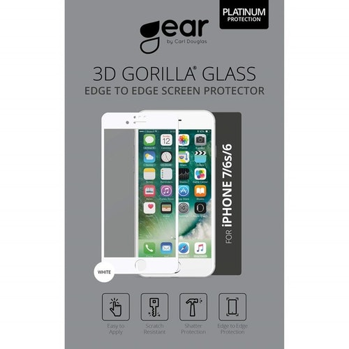 "GEAR Härdat Glas 3D 4.7"" iPhone6/7/8 Edge to Edge Vit"
