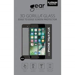 "GEAR Härdat Glas 3D 5.5"" iPhone6/7/8 Plus Edge to Edge Svart"
