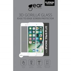 "GEAR Härdat Glas 3D 5.5"" iPhone6/7/8 Plus Edge to Edge Vit"