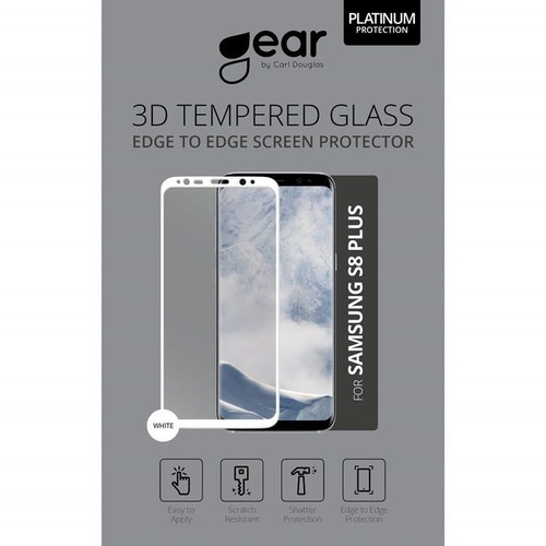 "GEAR Härdat Glas 3D Samsung S8 Plus 6,2"" Edge to Edge Vit"