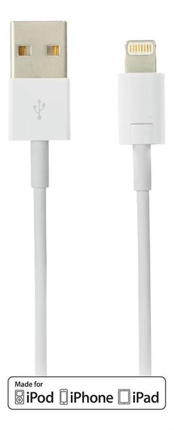 DELTACO USB-synk-/laddarkabel till iPad, iPhone och iPod 1 m