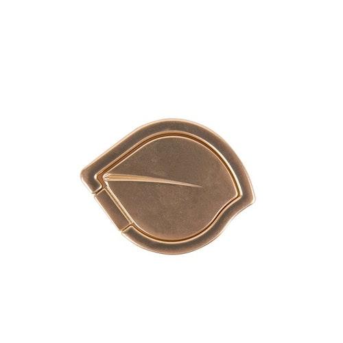 GEAR MobilRing Löv Guld Matt Roterande Fingerhållare med Ställfunktion