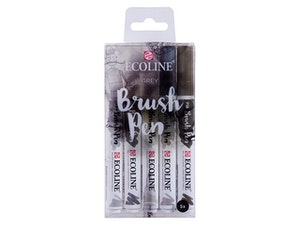 Ecoline Brush Pens GREY 5-pack