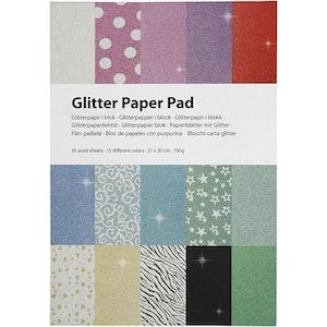 Glitterpapper i block