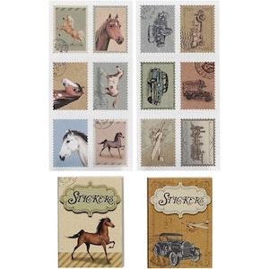 Tändsticksask med stickers Hästar och bilar