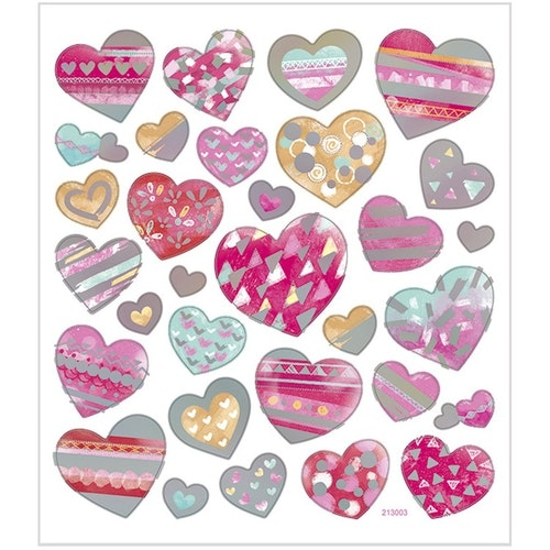 Stickers Hjärtan med silver