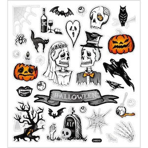 Stickers Halloween-skelett