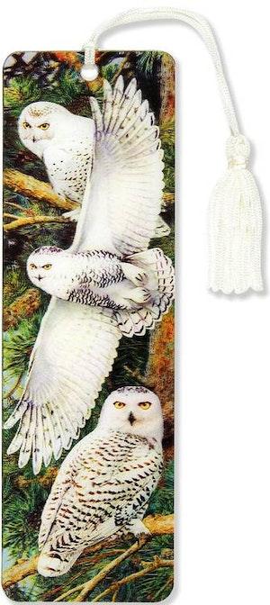 Bokmärke Snowy Owl 3D