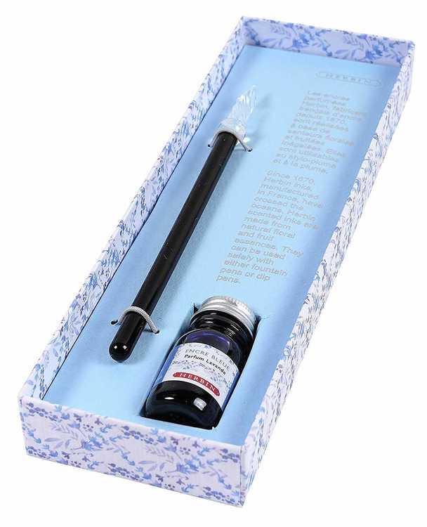 Glaspenna och doftande bläck Blå/lavendel