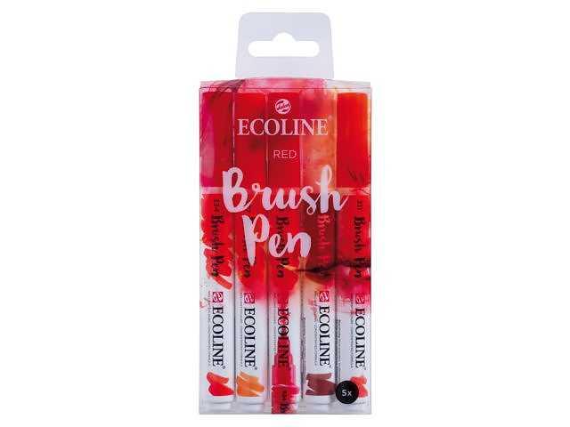 Ecoline Brush Pens RED 5-pack