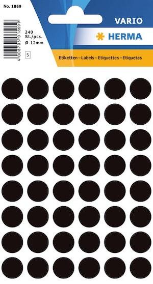 Svarta dot-etiketter 12 mm