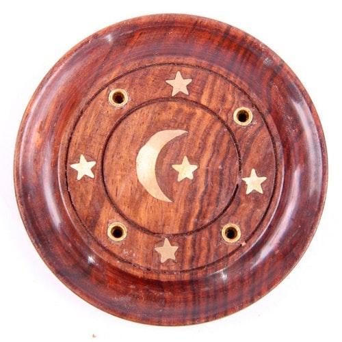 Sheeshamträ med Måne och Stjärnor i mässing Asksamlare rund