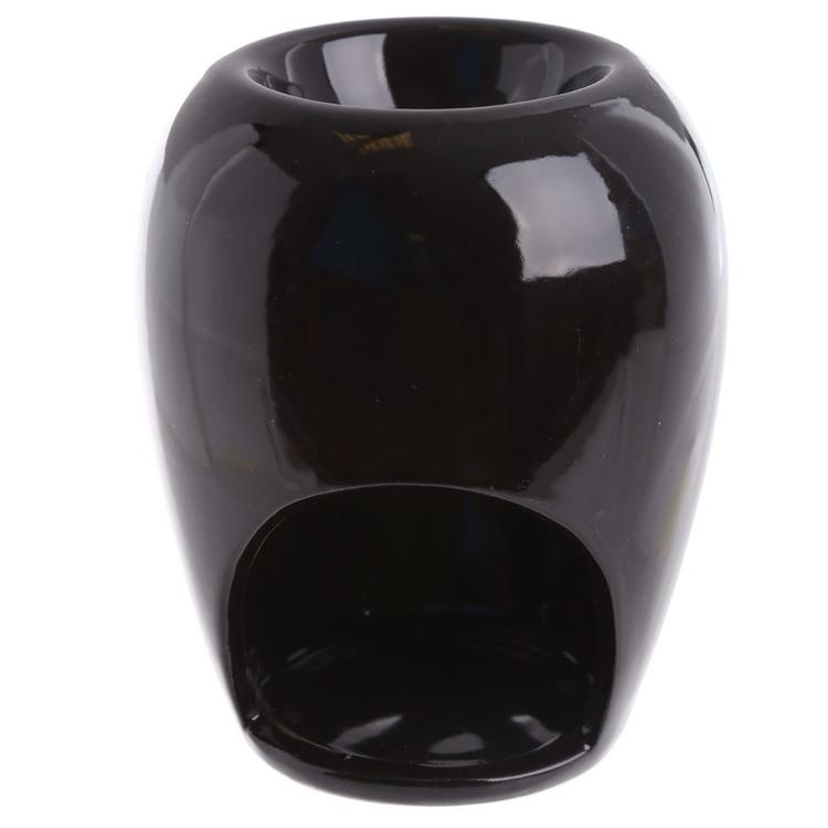 Lökformad med blommönster, keramisk svart, Aromalampa