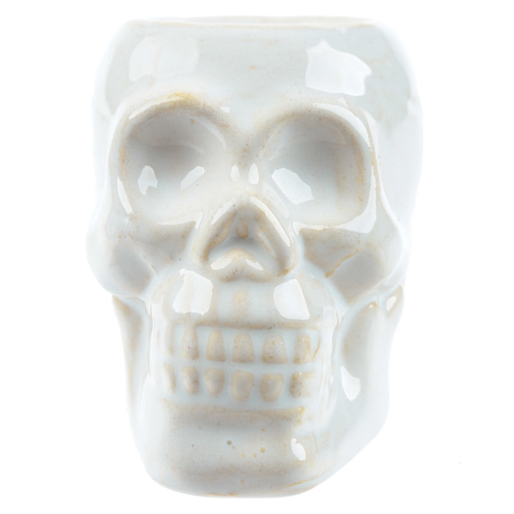 Dödskalle Mini Vit keramik, Aromalampa