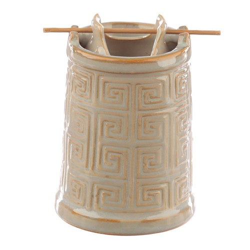 Geometriskt torn buckligt gråbeige, keramisk Aromalampa