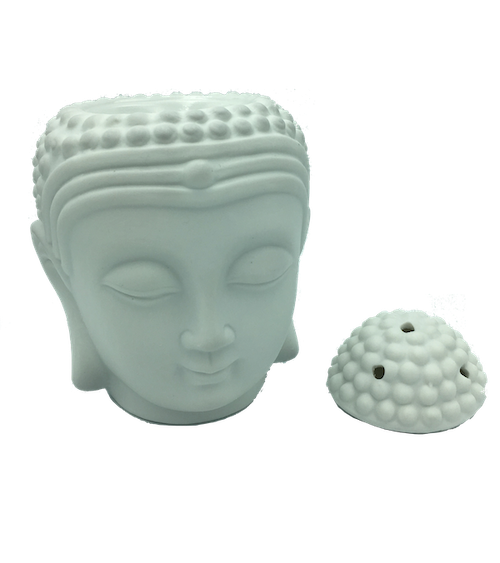Buddhahuvud med lock vit keramik, Aromalampa