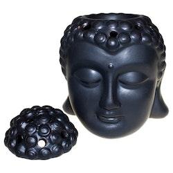 Buddhahuvud med lock svart keramik, Aromalampa