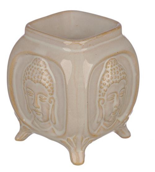 Buddha Relief keramik Vit, Aromalampa