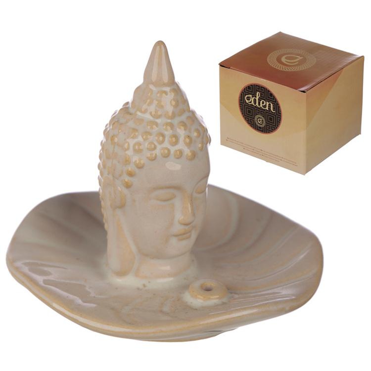 Vit Thai Buddha rökelsehållare, Keramik