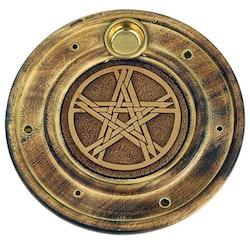 Rund rökelsehållare med Pentragram, Trä