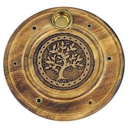 Rund rökelsehållare med Livets Träd, Trä