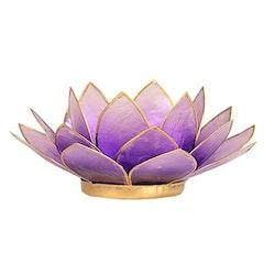 Lotusblomma ljus violett med guldkant, Ljushållare