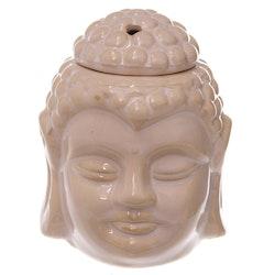 Thai buddha huvud creme keramik, Aromalampa