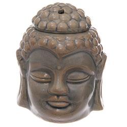 Thai buddha huvud grå keramik, Aromalampa