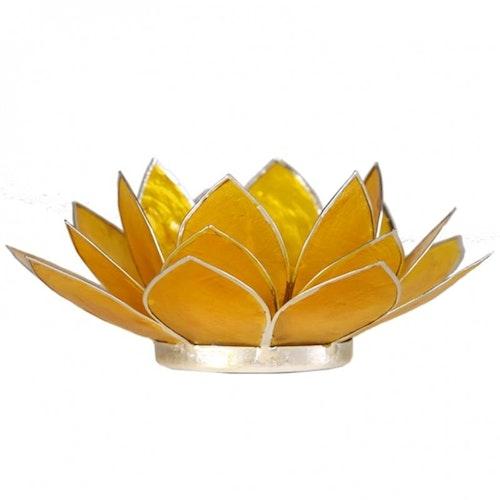 Lotusblomma Gul, Chakra 3 med silverkant