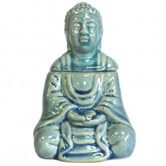 Sittande Buddha blå keramik, Aromalampa